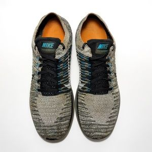 Nike Flyknit Free Running Shoes Grey and Green